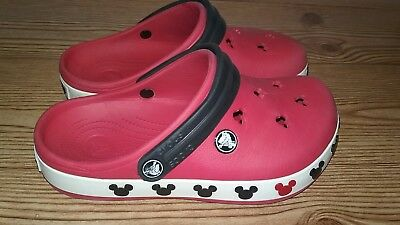 e86ac8a2f9b984 Disney Mickey Mouse Crocs Red With Black Straps Youth Size 3 J