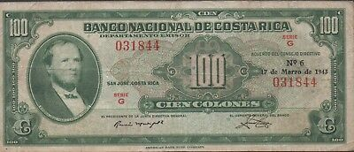 Costa Rica  100 Colones  17.3.1943  P 212  Series G  Circulated Banknote