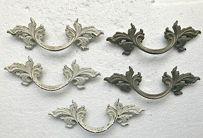 Vintage French Provincial Brass Pulls Drawer Pulls (5)