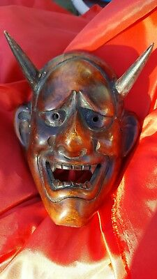 Japanese demon mask hand carved.