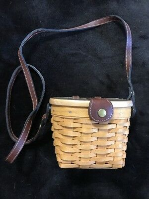 Longaberger Mini Purse w/ Leather Shoulder Strap Wooden Lid 2000