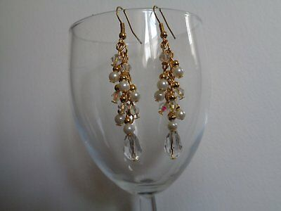 Crystal ivory glass pearl gold long earrings bridal bridesmaid wedding prom