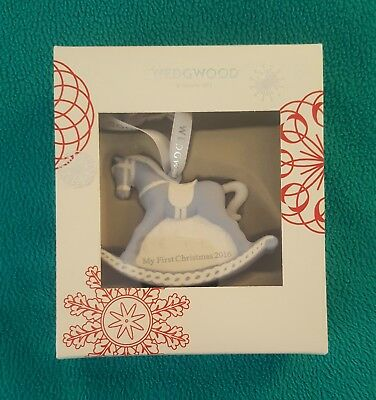 Wedgwood Baby's First Christmas Horse Ornament Blue 2016 Brand New in Box