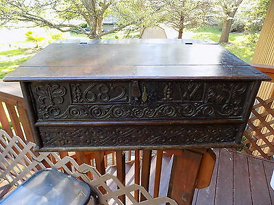 1682 Antique Carved English Oak Wooden Bible Box,writing Desk, Dated & Monogram