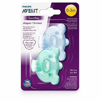 Philips AVENT Soothie Bear Shape Pacifier, Green/Blue, 0-3 Months