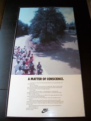"""Vintage 1980 NIKE Poster """"A Matter Of Conscience"""" VERY RARE running advertising"""