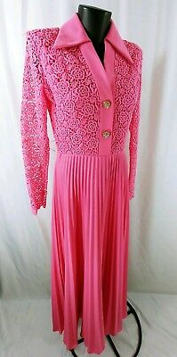 Vintage 60's / 70's Pink Flower Child Spring Party Shirt Dress SZ 12