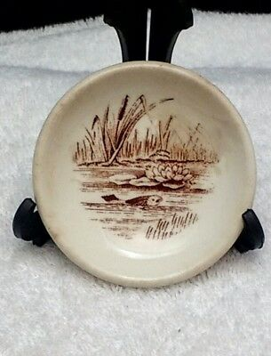 Vintage Antique Butter Pat Aesthetic Brown Transferware Fish Cattails Water Lily