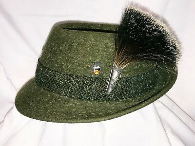 Vintage Bavarian WILD BOAR Brush Alpine Hat PIN & HAT 6 Extra Pins on Hat