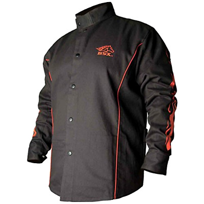New BSX Flame-Resistant Welding Jacket - Black with Red Flames, Size 2X-Large