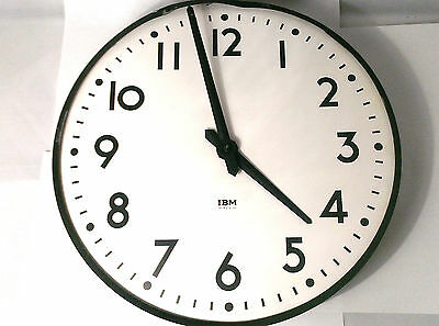 "Rare Large Vintage Ibm Wall Clock Industrial Station School 12"" Diameter"