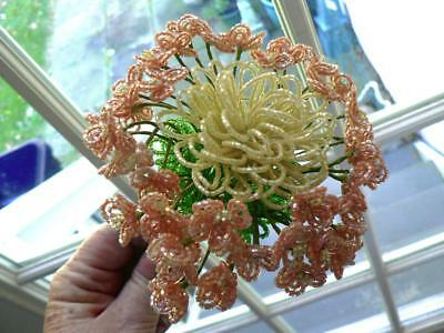 Vintage Big French Glass Beaded Flower Hydrangea Lacecap Peach Yellow Leaves