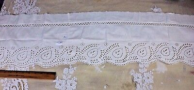Antique 19thC White Cut Work Hand Embroidery Cotton/Linen Wide Border Fabric
