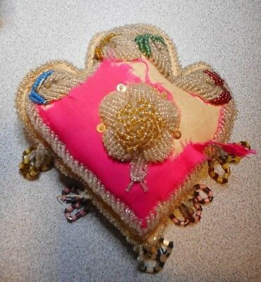 Antique Victorian Small Heavy Beaded Heart Shaped Pillow