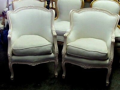 Pair of French Country Chic Painted Louis XV Bergere's Chairs