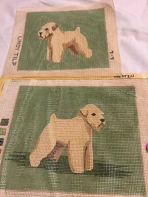 Two Wheaten Dog Painted Canvases By Lindy Tilp