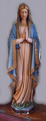 """+ 90 Year Old Cast Limestone Statue of Mary """"The Blessed Mother"""" + 61"""" ht. +"""