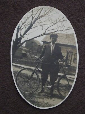 YOUNG MAN WITH BIKE IN FRONT OF HOUSE Vintage 1910's OVAL PHOTO