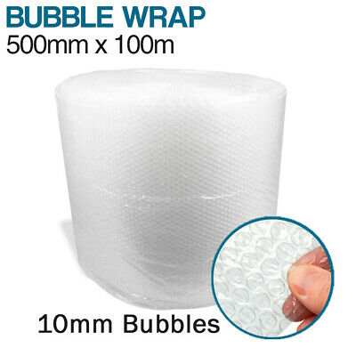 500mm x 100m Bubble Wrap Cushioning Roll Clear Protective 10mm Bubbles
