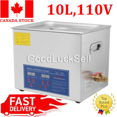 New Stainless Steel 10L Liter Industry Heated Ultrasonic Cleaner Heater Timer CA