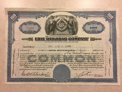 1945 Stock Certificate Erie Railroad Company 100 Shares
