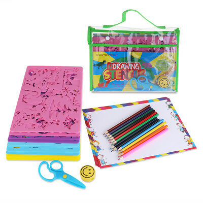 AU Set Kids Drawing Stencils Painting Template & Pencils Sketching DIY Art Kit