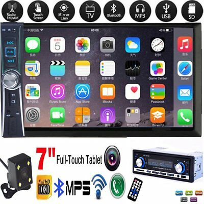"""2DIN 7"""" HD Car Stereo Radio MP5 Player Bluetooth Touch Screen + Rear Camera LOT"""