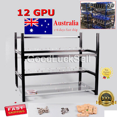 AU Miner Stackable Aluminum Open Air Mining Rig Frame Case Ethereum ZCash 12 GPU