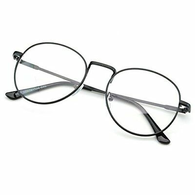 PenSee Oval Classic Retro Metal Frame Clear Lens Round Circle Eye Glasses New