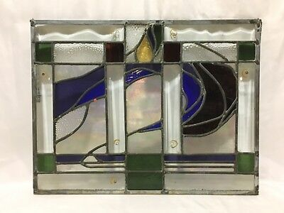 Antique Leaded Stained Glass Panel.