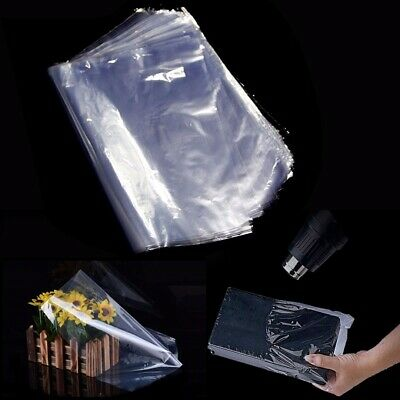 100pcs Set POF Transparent Shrink Wrap Film Heat Seal Bags Pouch Gift Packing