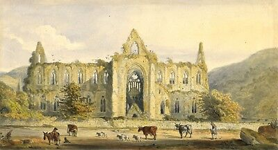 Ellis, Ruins at Tintern Abbey - Original late 19th-century watercolour painting