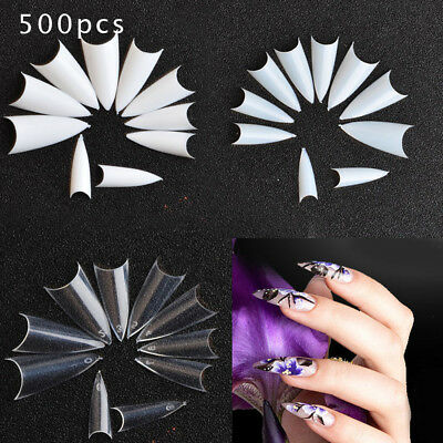 500 LONG CLEAR STILETTO FULL COVER NAIL TIPS - practice art display UK SELLER