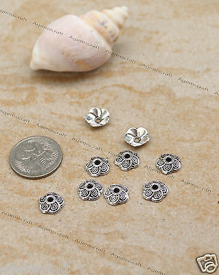 24 Antique Silver tone Flower Bead Caps 9x2.5mm, brand new