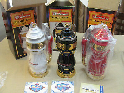 BUDWEISER DRAUGHT TOWER STEIN SERIES, Complete SET of Three in Boxes!!!