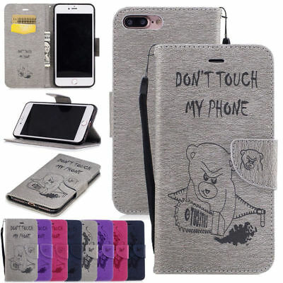 Premium Soft PU Leather Embossed Wallet Flip Case Cover For iPhone 5 6S 7 8 Plus