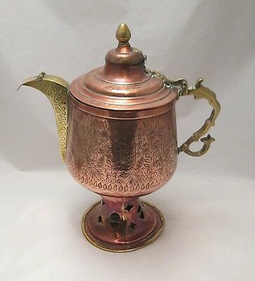 A Very Large Ornate Arabic Copper Coffee Pot - c1900 - with Warmer