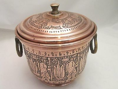 A Fine Arabic Vintage Copper Ice Bucket by Nader - engraved