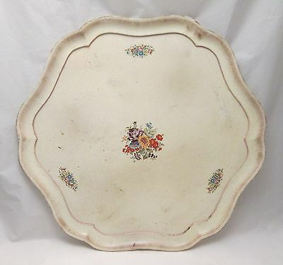 A Vintage Wooden Treen Painted Tray - White with Flowers