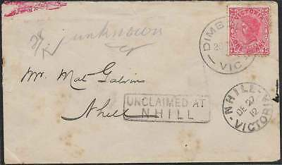 VICTORIA 1912 1d cover from DIMBOOLA boxed UNCLAIMED AT NHILL & red DLO cds rare