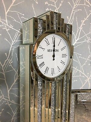 Art Deco Silver Mirror Grandfather Clock Inlaid Sparkling Diamond Cut Crystals