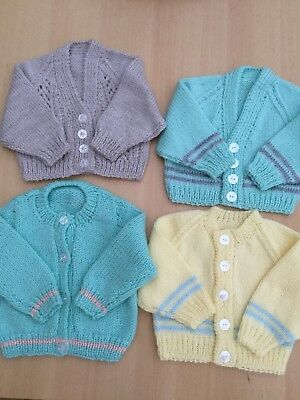 Bundle Of FOUR Hand Knitted BABY Cardigans - 0-3 Months PLEASE READ DESCRIPTION