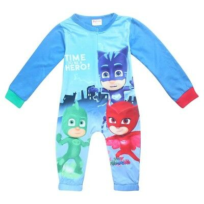 PJ MASKS boys one peice pjs pyjamas size 1-5 xmas kids clothing