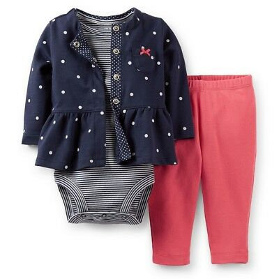 f1f110c24 NWT Carters Baby Girls 3 Piece Cardigan bodysuit pant Set 6 9 12 18 24  months