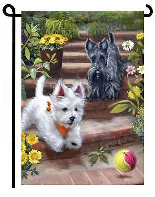 WESTIE SCOTTIE GARDEN FLAG West Highland Terrier Scottish Dog ART painting