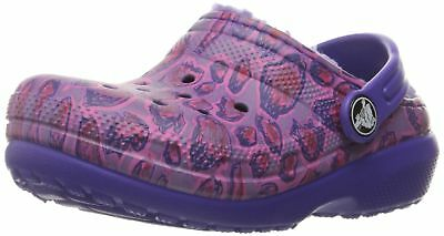Crocs Classic Girls Lined Graphic Clog Purple Leopard 8 M US Toddler Roomy Fit