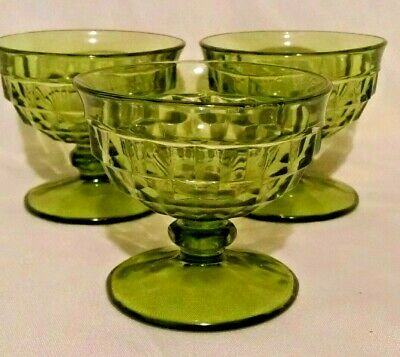 Indiana Glass Whitehall Cubist Footed Dessert Cups Lot of 3 Hunter Green