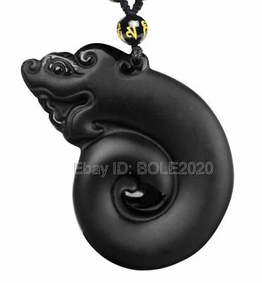 Natural Obsidian Carved Ancient Hollow Dragon Lucky Pendant + beads Necklace