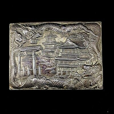 Antique Japanese Mixed Metal Trinket Box Beautiful Detailed Japanese Scenery