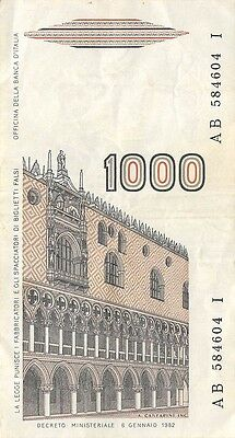 Italy  1000 Lire  6.1.1982  P 109  Series AB-I Circulated Banknote